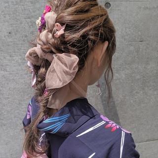 ヘアアレンジ 浴衣ヘア ロング ガーリー ヘアスタイルや髪型の写真・画像