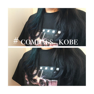 ネイビー セミロング モード ネイビーアッシュ ヘアスタイルや髪型の写真・画像