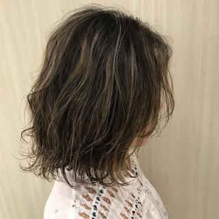 ボブ ナチュラル ハイライト シースルーバング ヘアスタイルや髪型の写真・画像