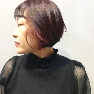 ストリート チェリーレッド ボブ チェリーピンク ヘアスタイルや髪型の写真・画像