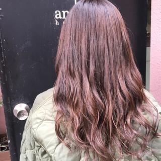 ロング ピンク 透明感カラー ヘアカラー ヘアスタイルや髪型の写真・画像