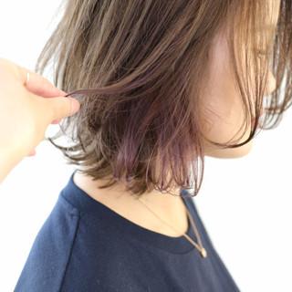 インナーカラー モード ミディアム 外国人風カラー ヘアスタイルや髪型の写真・画像