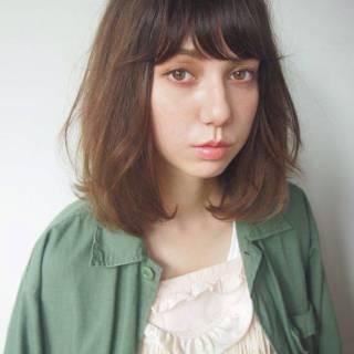 ボブ グラデーションカラー シースルーバング ナチュラル ヘアスタイルや髪型の写真・画像