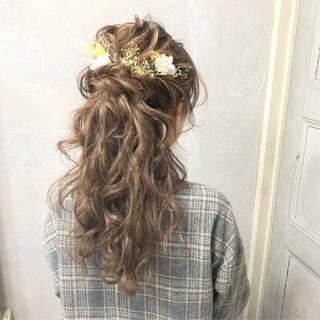 上品 ハーフアップ エレガント ヘアアレンジ ヘアスタイルや髪型の写真・画像