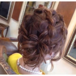 ミディアム 結婚式 愛され 三つ編み ヘアスタイルや髪型の写真・画像