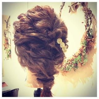 結婚式 フェミニン ガーリー ゆるふわ ヘアスタイルや髪型の写真・画像