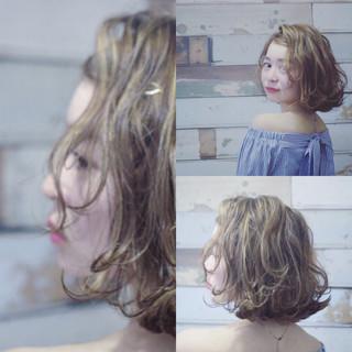 ボブ ナチュラル ハイライト ガーリー ヘアスタイルや髪型の写真・画像