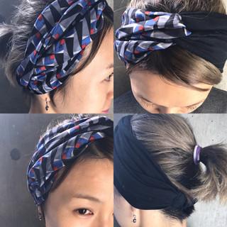 グラデーションカラー ショート 暗髪 ヘアアレンジ ヘアスタイルや髪型の写真・画像