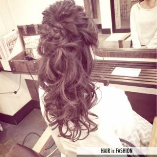 ルーズ ゆるふわ 編み込み フェミニン ヘアスタイルや髪型の写真・画像 ヘアスタイルや髪型の写真・画像