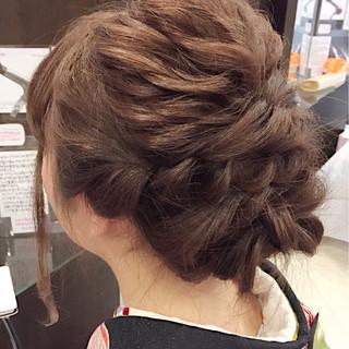 編み込み セミロング 謝恩会 ヘアアレンジ ヘアスタイルや髪型の写真・画像