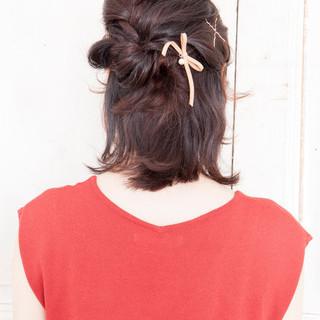 簡単ヘアアレンジ ハーフアップ 大人女子 ゆるふわ ヘアスタイルや髪型の写真・画像