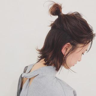 簡単ヘアアレンジ ボブ デート ナチュラル ヘアスタイルや髪型の写真・画像