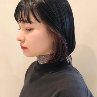 ナチュラル ミニボブ インナーカラー パープルアッシュ ヘアスタイルや髪型の写真・画像