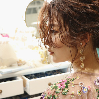 ハイライト 結婚式ヘアアレンジ ポニーテール ローポニーテール ヘアスタイルや髪型の写真・画像