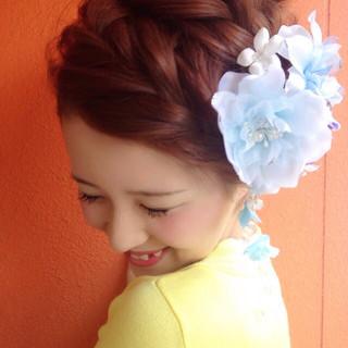 成人式 編み込み ヘアアレンジ アップスタイル ヘアスタイルや髪型の写真・画像