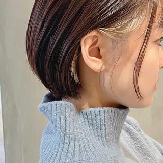 ミニボブ インナーカラーグレージュ ボブ ショートボブ ヘアスタイルや髪型の写真・画像