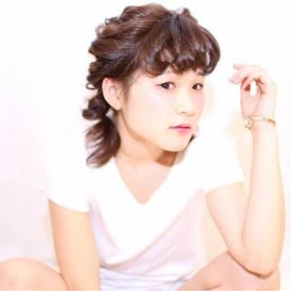 くるりんぱ ヘアアレンジ ミディアム ガーリー ヘアスタイルや髪型の写真・画像