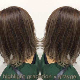 ベージュ ヘアカラー ボブ ハイライト ヘアスタイルや髪型の写真・画像