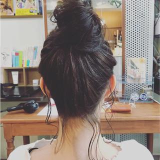 簡単ヘアアレンジ お団子 ヘアアレンジ ガーリー ヘアスタイルや髪型の写真・画像