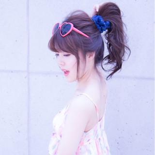 ロング ポニーテール 夏 ヘアアレンジ ヘアスタイルや髪型の写真・画像
