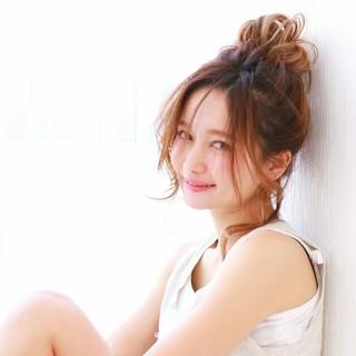 ショート 夏 お団子 ミディアム ヘアスタイルや髪型の写真・画像