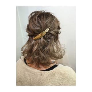 ヘアアレンジ 切りっぱなし ボブ ハーフアップ ヘアスタイルや髪型の写真・画像 ヘアスタイルや髪型の写真・画像