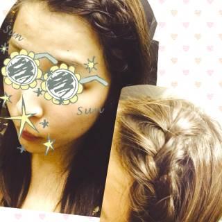 前髪アレンジ ヘアアレンジ セミロング 簡単ヘアアレンジ ヘアスタイルや髪型の写真・画像