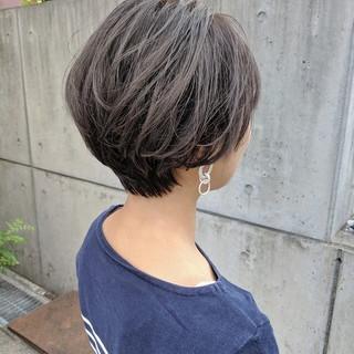 ショートボブ ショート ナチュラル 暗髪 ヘアスタイルや髪型の写真・画像