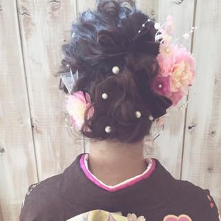 成人式 振袖 ヘアアレンジ セミロング ヘアスタイルや髪型の写真・画像