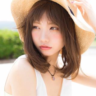 前髪あり ミディアム 夏 ロブ ヘアスタイルや髪型の写真・画像