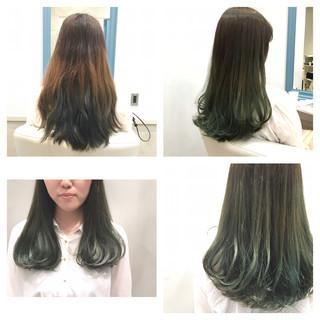 ブリーチなし グリーン ロング カーキ ヘアスタイルや髪型の写真・画像 ヘアスタイルや髪型の写真・画像