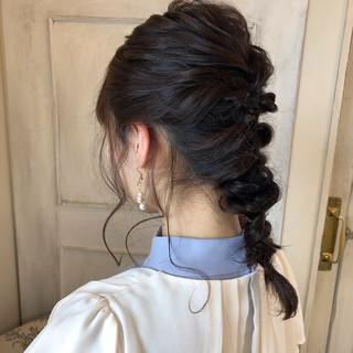 結婚式 フェミニン 簡単ヘアアレンジ 黒髪 ヘアスタイルや髪型の写真・画像 ヘアスタイルや髪型の写真・画像