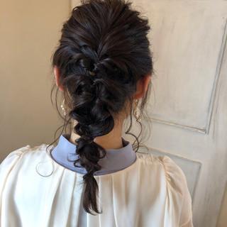結婚式 フェミニン 簡単ヘアアレンジ 黒髪 ヘアスタイルや髪型の写真・画像