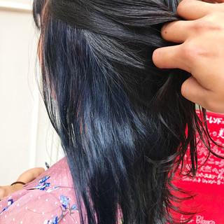 セミロング デート ブリーチ インナーカラー ヘアスタイルや髪型の写真・画像