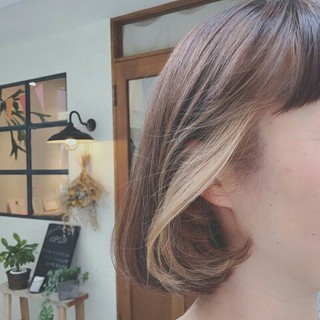 透明感 ナチュラル インナーカラー ボブ ヘアスタイルや髪型の写真・画像