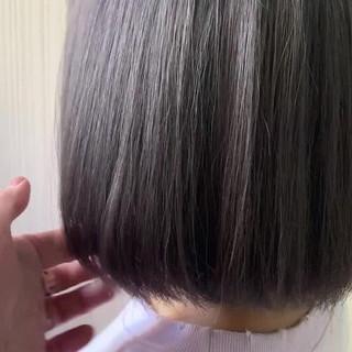 ショートボブ ラベンダーピンク ナチュラル ミニボブ ヘアスタイルや髪型の写真・画像