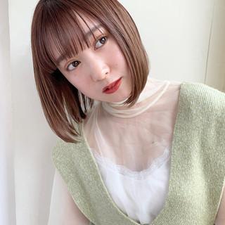 シースルーバング 小顔ヘア ナチュラル ミニボブ ヘアスタイルや髪型の写真・画像