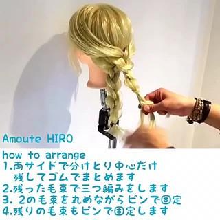 編み込み 簡単ヘアアレンジ ヘアアレンジ エレガント ヘアスタイルや髪型の写真・画像