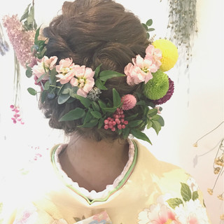 和装 着物 フェミニン 成人式 ヘアスタイルや髪型の写真・画像 ヘアスタイルや髪型の写真・画像