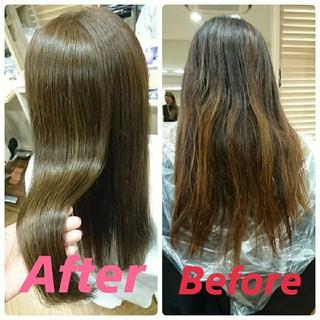 縮毛矯正 ロング 外国人風 フェミニン ヘアスタイルや髪型の写真・画像 ヘアスタイルや髪型の写真・画像
