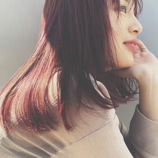 切りっぱなしボブ フェミニン ミディアム ヘアカラー ヘアスタイルや髪型の写真・画像