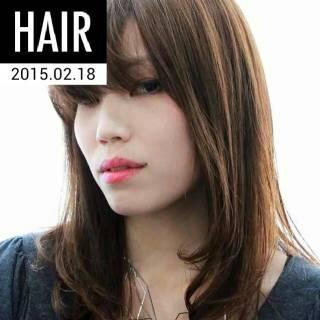 暗髪 ストリート セミロング ウェットヘア ヘアスタイルや髪型の写真・画像
