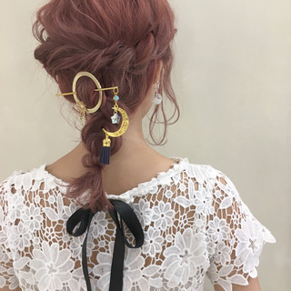 透明感 結婚式 上品 ミディアム ヘアスタイルや髪型の写真・画像