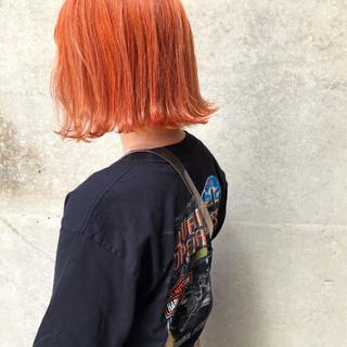 ボブ イエロー オレンジ オルチャン ヘアスタイルや髪型の写真・画像
