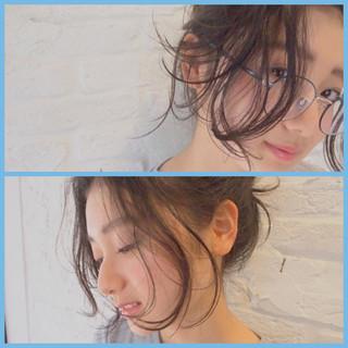 外国人風 暗髪 アッシュ ミディアム ヘアスタイルや髪型の写真・画像