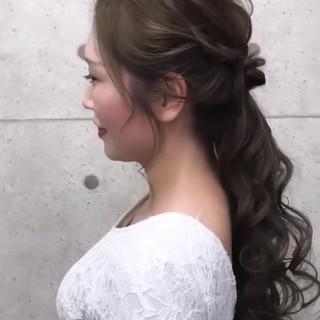 外国人風 ロング ローポニーテール 結婚式 ヘアスタイルや髪型の写真・画像