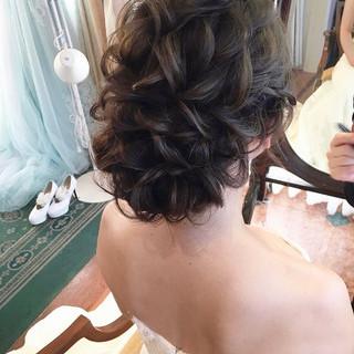 フェミニン ロング 結婚式髪型 ヘアアレンジ ヘアスタイルや髪型の写真・画像