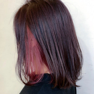 デート 結婚式 ボブ ピンク ヘアスタイルや髪型の写真・画像