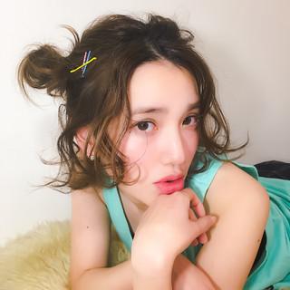 外国人風 ショート 大人かわいい ハーフアップ ヘアスタイルや髪型の写真・画像