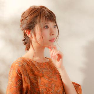 ガーリー 簡単ヘアアレンジ 大人かわいい 編み込み ヘアスタイルや髪型の写真・画像
